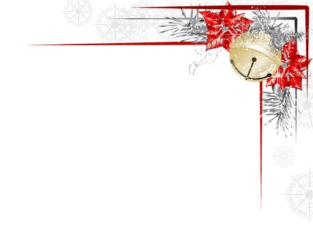red and gold: Blank label with golden jingle bell and needles