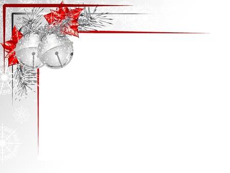 flor de pascua: Etiqueta en blanco con dos cascabeles de plata