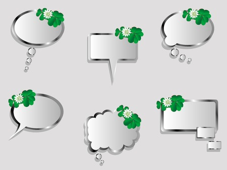 quarterfoil: Collection of speech bubbles with green clover leaves