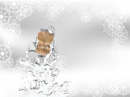 cubos de hielo: Champagne splash con cubitos de hielo y corcho Vectores