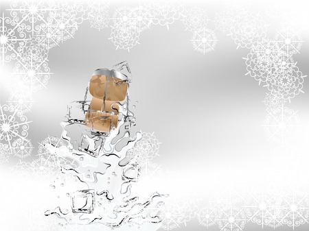 Champagne splash with ice cubes and cork