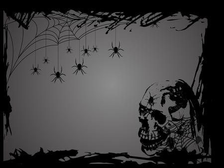 Spinneweb met spinnen in zwarte grunge frame Stock Illustratie