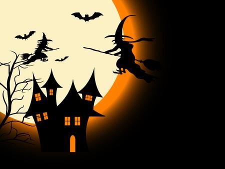 foe: Scary Halloween night - vector background Illustration