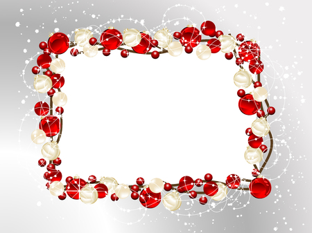 Luxury Christmas frame with glass balls and snowflakes Vector
