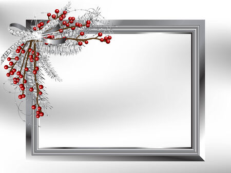 silver jewelry: Silver garland with bow and needles in the frame Illustration