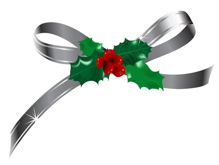 Silver bow with Christmas holly decoration Vector