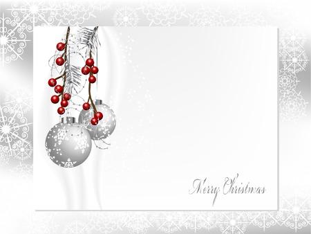 Zwei silberne Weihnachtskugeln mit Nadeln und Beeren Standard-Bild - 33058320