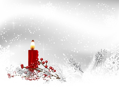 snowscene: Christmas background with candlestick and white snowflakes Illustration