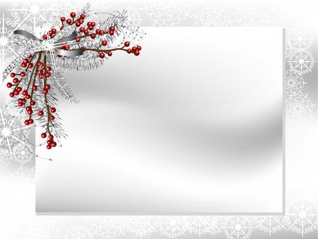bodas de plata: Tarjeta en blanco con una cinta de plata con diamantes