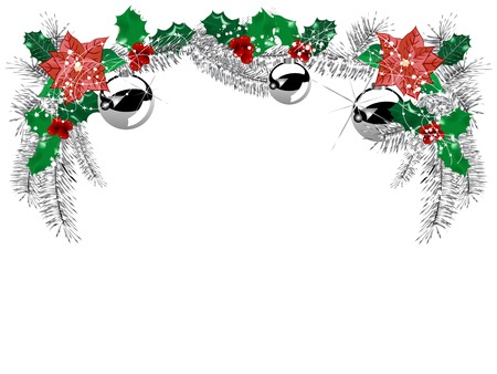 Silver garland with bow and needles in the frame Illustration