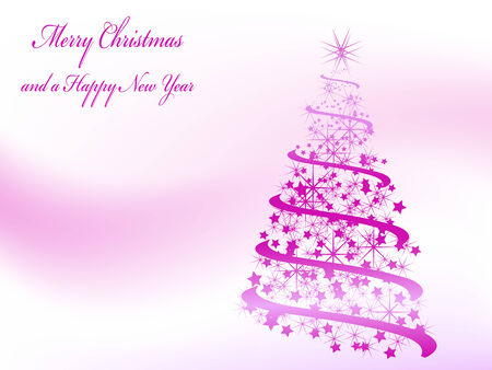 Abstract pink christmas tree with stars