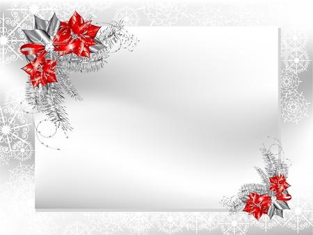 flor de pascua: Tarjeta en blanco con plata y flor de pascua roja