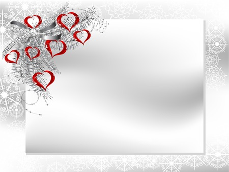 Blank card with silver ribbon and glass red hearts