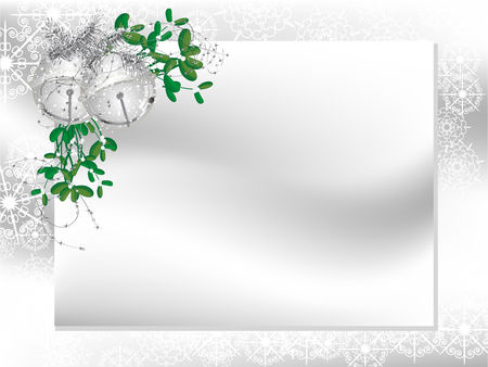 wedding photo frame: Blank card with silver ribbon and mistletoe