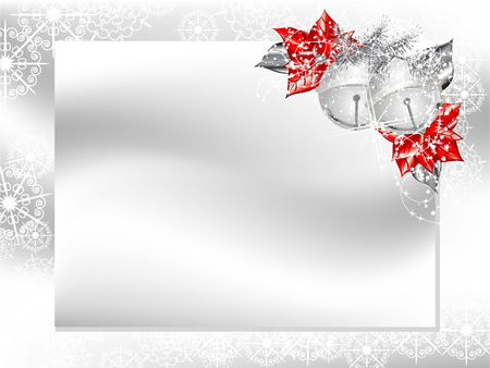 Blank card with silver ribbon and poinsettia Vector