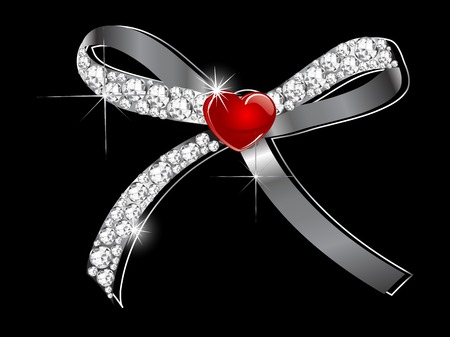 sateen: Red bow with the diamonds and heart Illustration