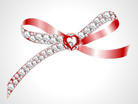 Red bow with the diamonds and heart Иллюстрация