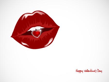 brilliancy: Luxury diamond heart in beautiful lips