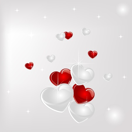 place card: Abstract background with red hearts