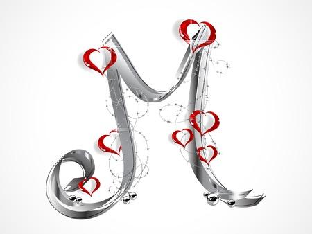 coeur en diamant: Gris lettre M avec ruban et verre coeurs