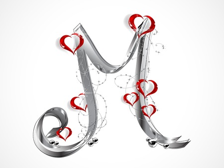 Grey letter M with ribbon and glass hearts