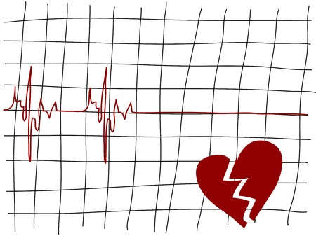 lifeline: Broken heart and the lifeline - simple illustration