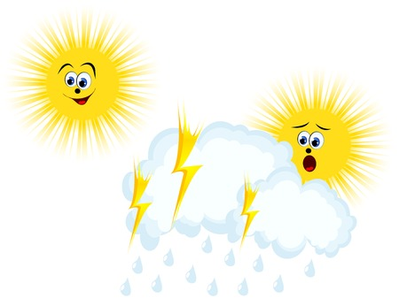 stormcloud: Weather symbols with sun, clouds and lightning