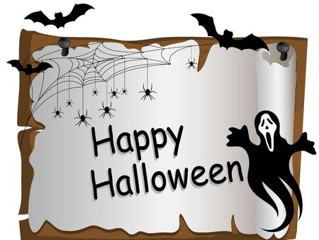 spider web: Halloween card with ghost, bats and spider web