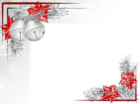 silver backgrounds: Blank label with two silver jingle bells