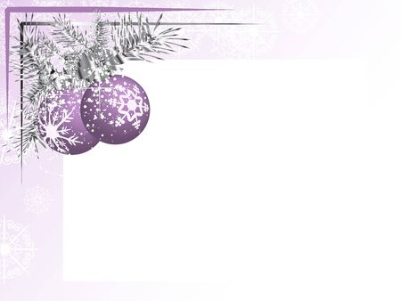 Blank label with two violet christmas balls