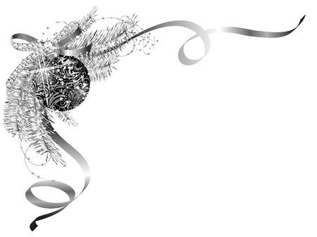adornos navidad: Etiqueta en blanco con arco de plata y la pelota negro