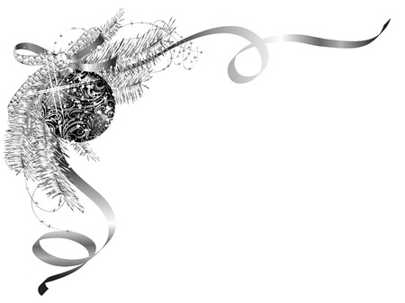 Tiquette vierge avec l'arc d'argent et boule noire Banque d'images - 47181313