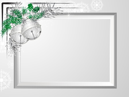 fantasize: Silver frame with garland and jingle bells