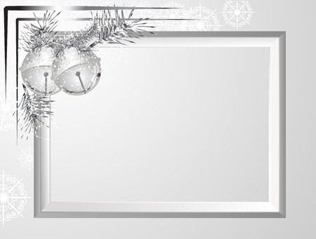 garland border: Silver frame with garland and jingle bells
