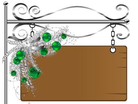 letrero: Panel de señal de madera con guirnalda de Navidad