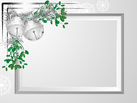 Silver frame with garland and jingle bells