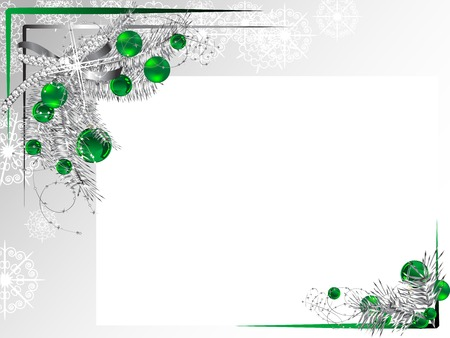 fantasize: Silver frame with ribbon and green balls Illustration