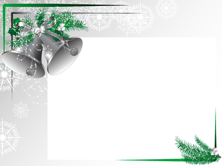 needles: Silver bells with bow and green needles