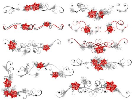 corner ornament: Christmas flower borders with red poinsettia Illustration