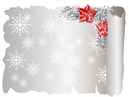 scroll background: Christmas parchment with snowflakes and red poinsettia