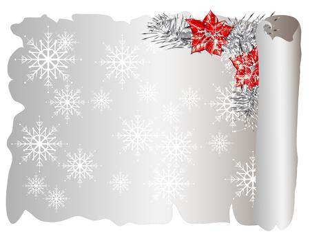 parchemin: Parchemin de No�l avec des flocons de neige et poinsettia rouge