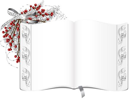 parchment texture: Elegant book with floral border Illustration