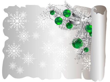 adventskranz: Christmas parchment with snowflakes and green balls