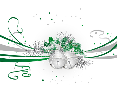 Green Christmas background with silver jingle bells