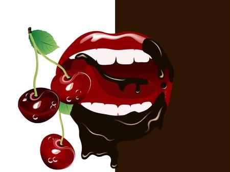 美しい女性の口の中新鮮な赤いサクランボ  イラスト・ベクター素材
