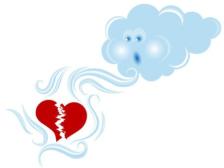 puffy: Blue cloud consoling a broken heart