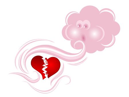 Pink cloud consoling a broken heart