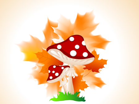 red leaves: Cartoon red mushroom with autumn leaves