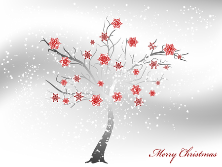 snowscene: Abstract snowy tree wirh red snowflakes