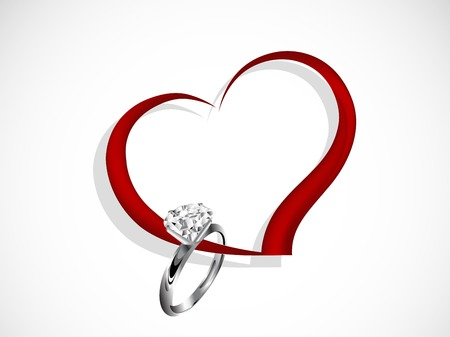 diamond: Abstract red heart with diamond ring Illustration